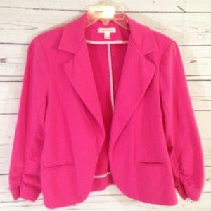 JOHNPAULRICHARD Pink Crop Open Front Blazer Large